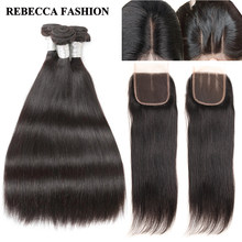 Rebecca Malaysian Straight Hair Bundles With Closure 3 Bundles With Closure Non Remy Extensions Human Hair Bundles With Closure(China)