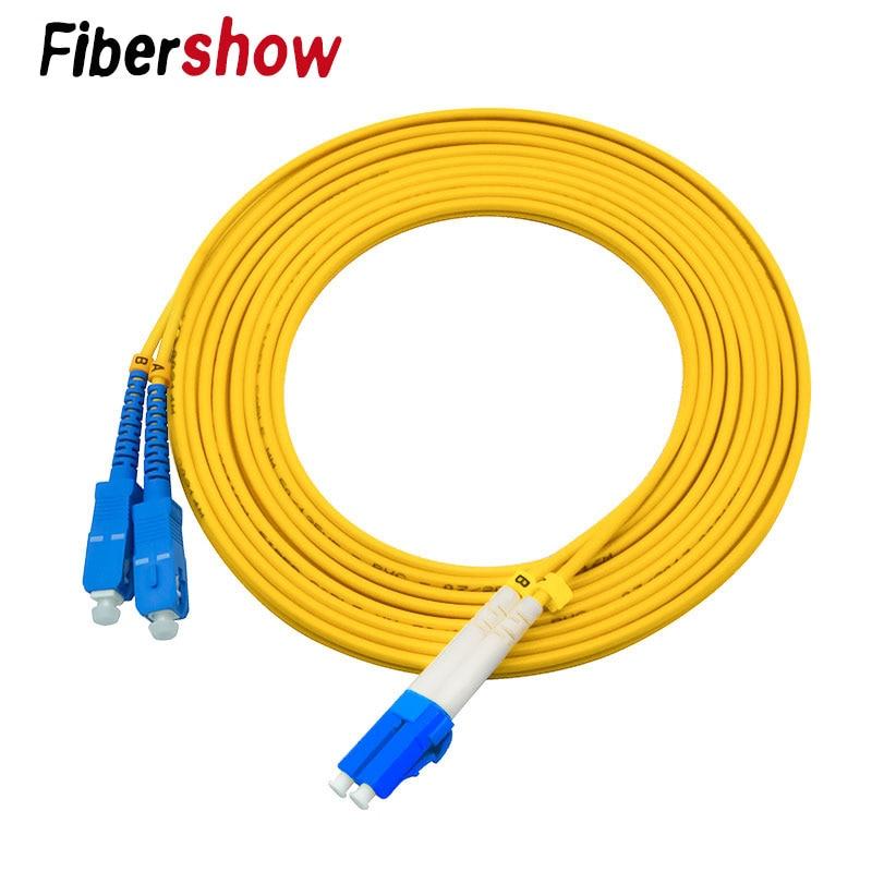 Fiber Opticjumper Cable 3M LC-SC Patch Cord 3.0MM Simplex Mode 2 Core Optic Fiber Cable UPC SC-SC Fiber Jumper Cable LC-FC