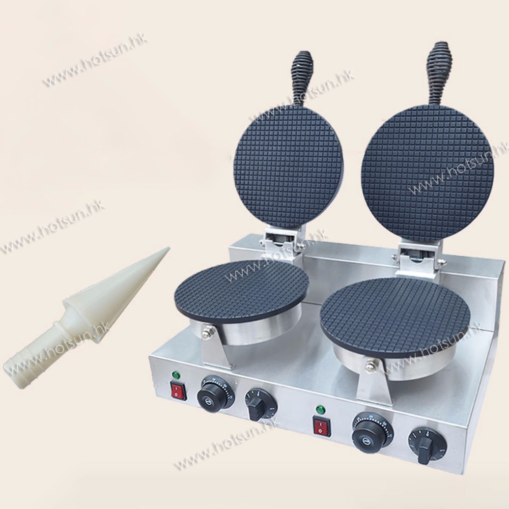 Commercial Non-stick Electric Ice Cream Cone Waffle Machine Maker Snack Machine square pan rolled fried ice cream making machine snack machinery