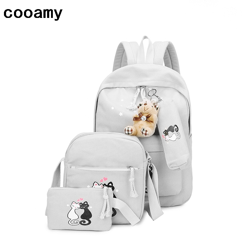 Lovely Canvas Backpack Cute Cartoon Cat Backpack Women Casual Students School Bags Casual Cute Rucksack Bookbags Mochila women canvas stripe shoulder bags casual capcity multifunction backpack students school bags
