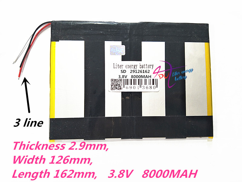 3 line 29126162 3.8V 8000MAH 30125160 29157125 (polymer lithium ion Rechargeable batteries) tablet pc mid power bank for N10 A10 3 line 3 7v 6000mah 4493105 polymer lithium ion li ion battery for tablet pc power mobile bank p85 vi40 a86