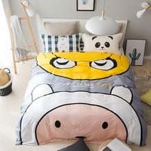 Grey cartoon duvet cover set twin queen size bedding set for adults 100 cotton cute duvet