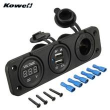KOWELL 12V 2 Duel USB Port Charger Adapter Power Cigarette Lighter Socket Splitter Car Auto Motorbike Boat + Digital Voltmeter
