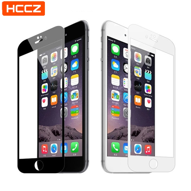 HCCZ For IPhone X XR XS Max 2.5D Full Cover Screen Protector For IPhone 6 6s 7 8 Plus 5s 5 SE Tempered Glass Protective Film