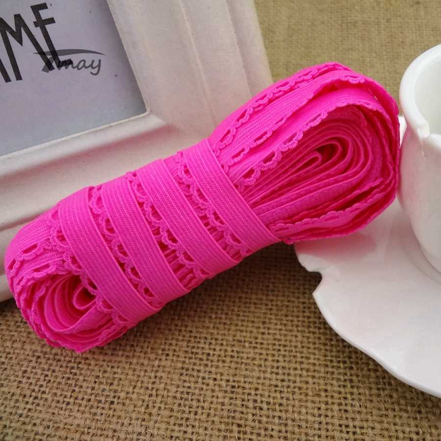 c52461fd75 ...  1243 Bright Neon Pink Strip Elastic Band Lace Trim 11MM Wide Stretch  Lace Ribbon Riband ...