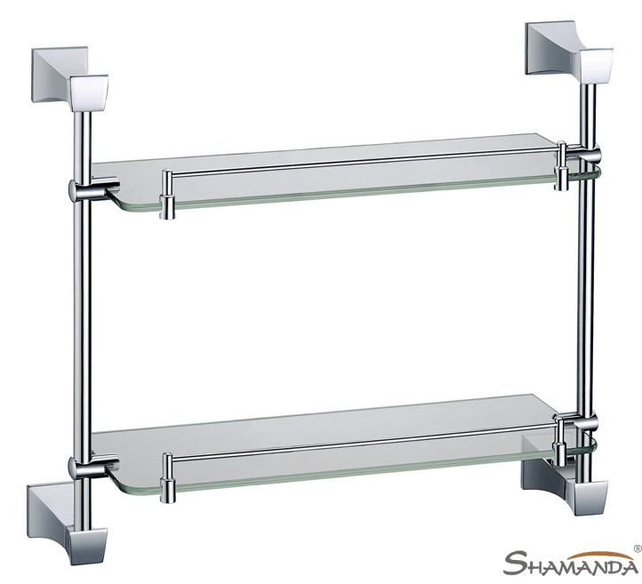 Double Bathroom Shelf /Glass Shelf,Brass Made with Chrome finish base+glass shelves,Bathroom Accessories,Free Shipping-82012 free shipping golden single bathroom shelf glass shelf brass made base glass shelf bathroom hardware bathroom accessories 67011