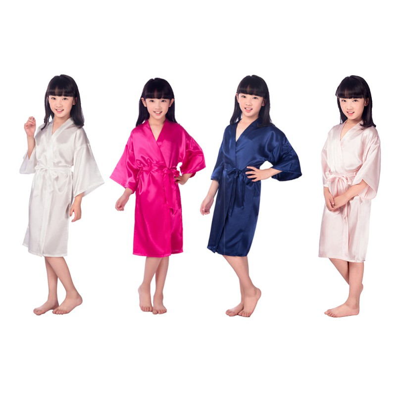 2018 Kids Robe Satin Children Summer Kimono Bath Robes Bridesmaid Girl Dress Silk Child Bathrobe Nightgown Solid Robes H1