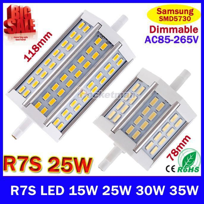 1X Dimmable R7S led 15W 25W 30W Samsung SMD5730 78mm J78 118mm J118 LED bulb light lamp AC85-265V replace halogen floodlight high power 78mm 118mm 138mm led r7s light 12w 20w 30w j78 j118 j138 r7s lamp without fan replace 150w halogen lamp ac110 240v
