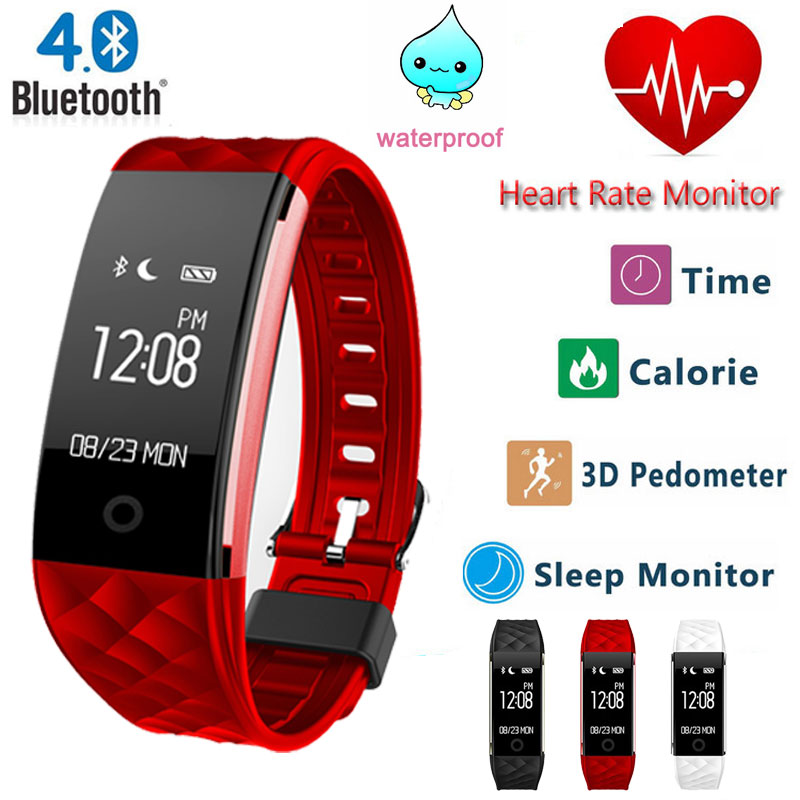 Bluetooth S2 Wristband Heart <font><b>Rate</b></font> <font><b>Monitor</b></font> Smart Band IP67 Waterproof Smartband Activity Tracker Bracelet For Android IOS Phone