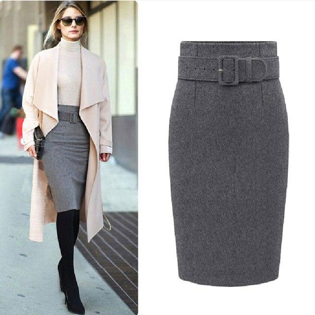 5590aeec900 Femmes jupe crayon 2015 automne hiver nouvelle mode Casual ceinture ...