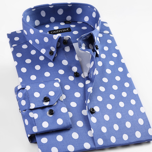 498bf2afd6 CAIZIYIJIA Spring 2017 Men's Big Polka Dot Pattern Dress Shirt Comfort Soft  Slim-fit Long Sleeve Casual Button-down Shirts