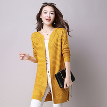 Women's Cardigan Autumn Summer Fashion Hollow Sweater Coat Outwear Yellow Long Cardigan Female Ladies Elegant Sweaters Knitted