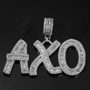 Image 5 - Uwin Cutsom Baguette Letters Name Necklace & Pendant Bling Bling Full Iced Out LuxuryZirconia Tennis Chain HipHop Jewelry