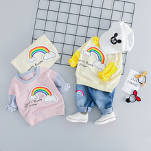 hot deal buy zwxlhh 2019 spring new baby girls clothing sets children kids clothes suit toddle infat rainbow shirt  pants casual suit