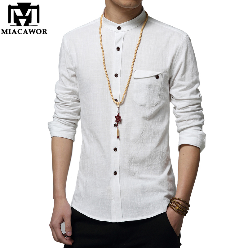 Buy miacawor cotton linen men shirt new Fitness shirts for men