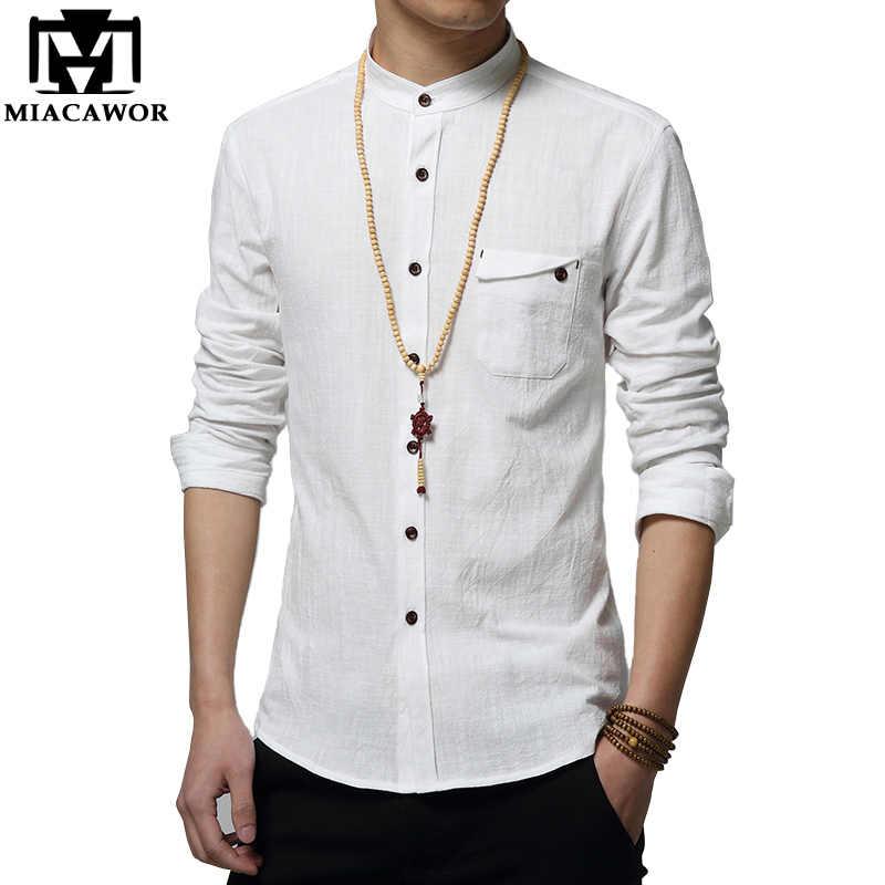 c3b05242787e413 Miacawor хлопок белье Для мужчин рубашка Новый 2018 Стенд воротник  Повседневное Мужской рубашка Slim Fit Для