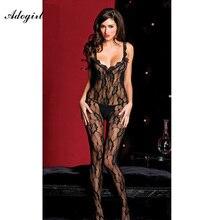 Adogirl Sexy Women's Black Siamese Fishnet Sexy Tight Sheer Halter Bodystocking Ultra-Thin Jacquard Fun Coveralls Socks
