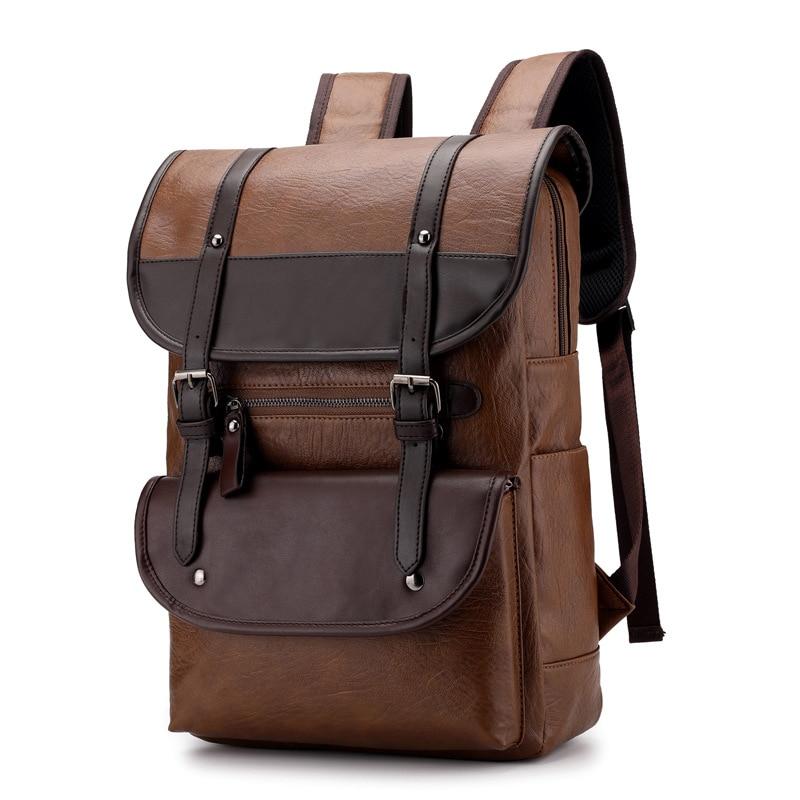 Роскошный брендовый Винтажный Мужской рюкзак для подростков, школьные сумки, мужские рюкзаки большой емкости для ноутбука, кожаные черные коричневые дорожные сумки