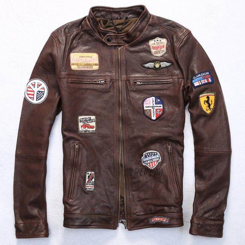 Retro Man Genuine Leather Coats 100% Sheepskin Motorcycle Leather Jackets Rock And Roll Leather Clothing