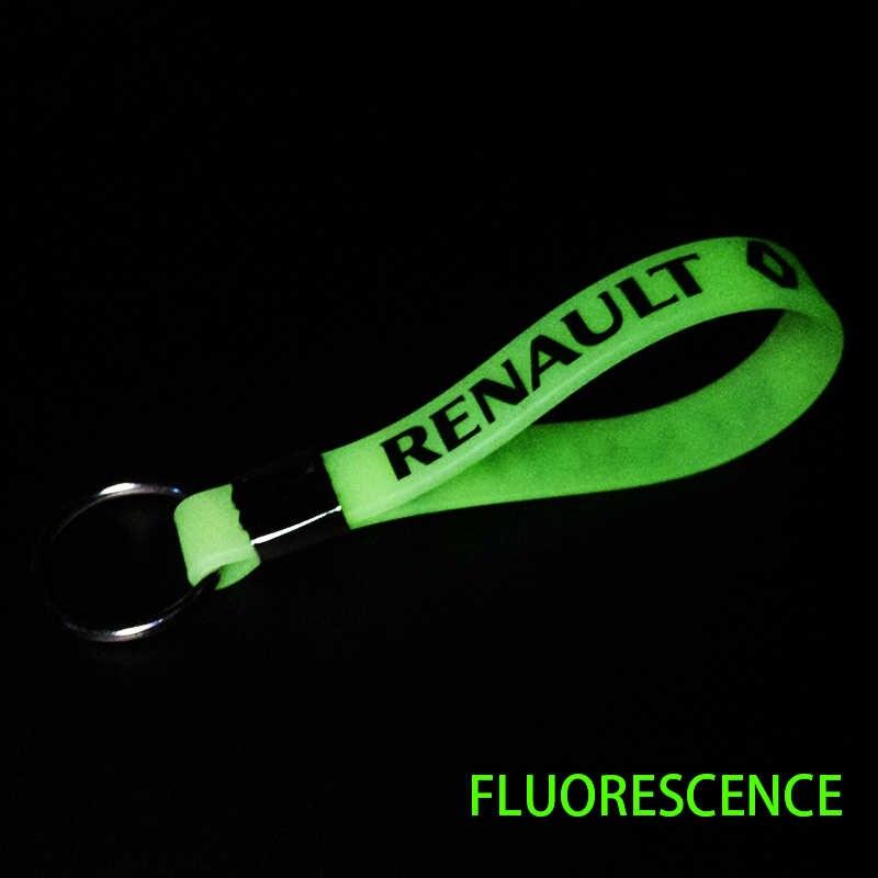 1 pièces Excellent lumineux Silicone emblème Badge voiture porte-clés porte-clés pour Renault Megane 2 3 Duster Logan Clio Laguna voiture style