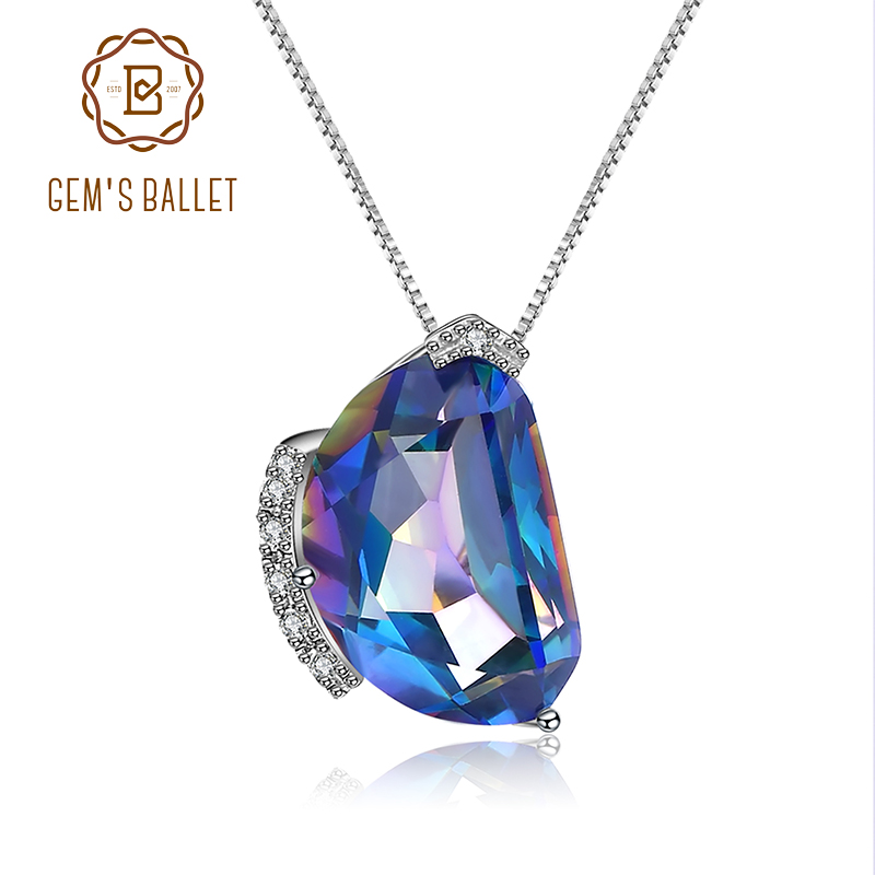 GEM S BALLET Natural Blueish Mystic Quartz Gemstone 925 Sterling Silver Irregular Pendant Necklace Vintage Fashion