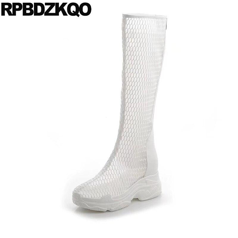 все цены на sandals platform high heel mesh flatform white summer boots cut out knee long wedge luxury brand shoes women harajuku muffin