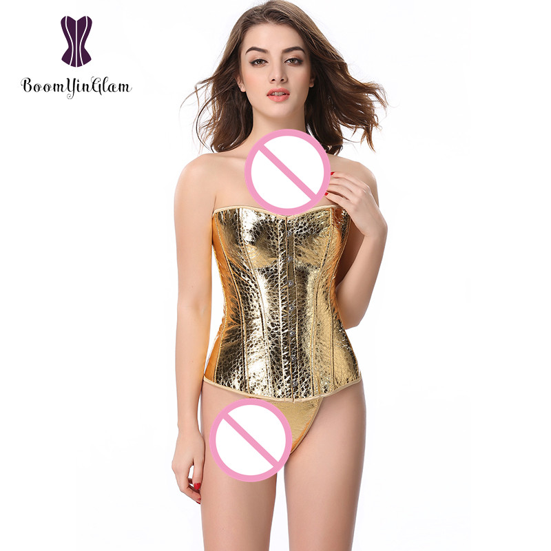 845 High quality Fashion design gold   bustier   dancer wear costume sequined   corset   size s-6xl