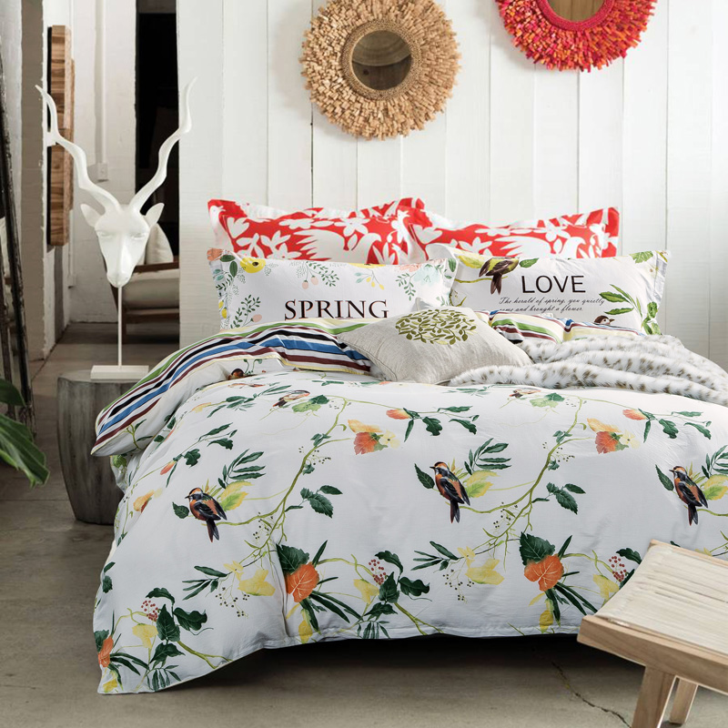 Natural Flower Birds Pattern Bedding Sets 100% Cotton High Quality Bed Linen Soft Quilt Cover Sheet Pillowcase 4PCS Home Textile