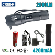 5 Mode T6 LED Flashlight Zoomable 2000 L Focus Torch Tactical Lamp 18650 Rechargeable battery AC