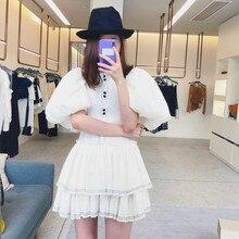 Cakucool جديد خمر المحكمة تصميم اللباس الصيف نفخة كم الكرة ثوب Vestido ضئيلة الحلو فساتين الأبيض