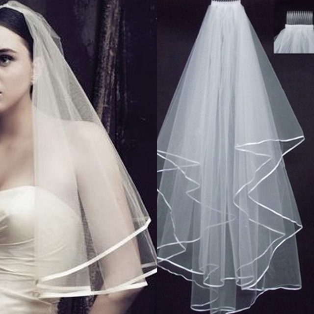 Dons Bridal Veils With Comb 2017 Sexy Yarn Dyed One Layer Real Photos Ribbon Cheap