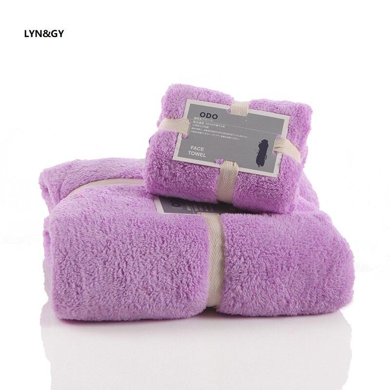LYN&GY 2PCS/Set Coral Velvet Towel Set One Piece 75*150cm Bath Pieces 34*80cm Face Towels Gift