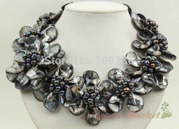 Bijoux 00781 noir shell noir Baroque FW perle fleur collier boucles d'oreilles set (A0423)