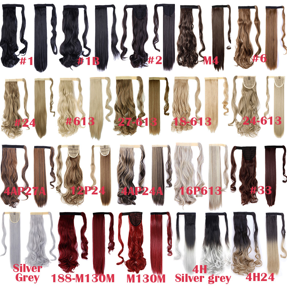 SNOILITE 17''23'' Long Silky Straight Ponytails Clip In Synthetic Pony Tail Fake Hair Extension wrap round hairpiece for women 4