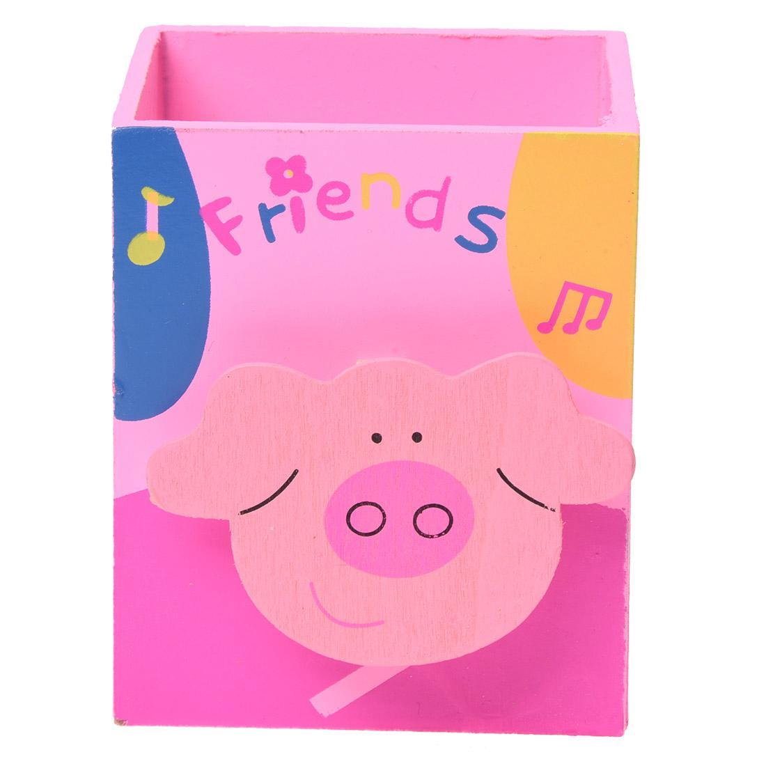 Cute Cartoon Pink Pig Memo Clip Wood Desk Pen Pencil Organiser Cup Holder