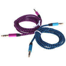 1m Car Aux Cord Nylon Jack Audio Cable 3.5 mm to 3.5mm Aux Cable Male to Male Cloth Audio Aux Cable Gold Plug(China)