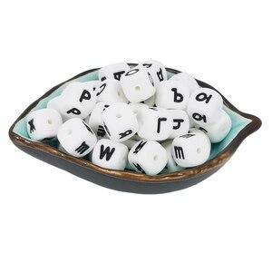 Image 5 - Anneau de dentition en Silicone pour bébé, 10 perles avec lettres russes de 12mm, cubes dalphabet sans BPA, à faire soi même pour bébé, nom, sucette chaîne, sucette