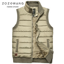 ZOZOWANG Army style Autumn Winter Men Coat Warm Sleeveless Jacket Casual Vest Fleece Green Waistcoat Big Size 4XL