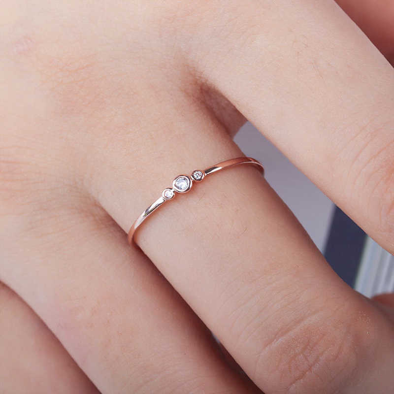 Crystal Rings For Woman engagement Fashion simple rose gold rings for women Silver Wedding Ring For Ladies Valentine's Day gift
