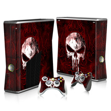 0122 Frank Castle Custom New Vinyl Host Skin Sticker Protector & 2pcs Gamepad Decals Covers for Xbox 360 Slim Console