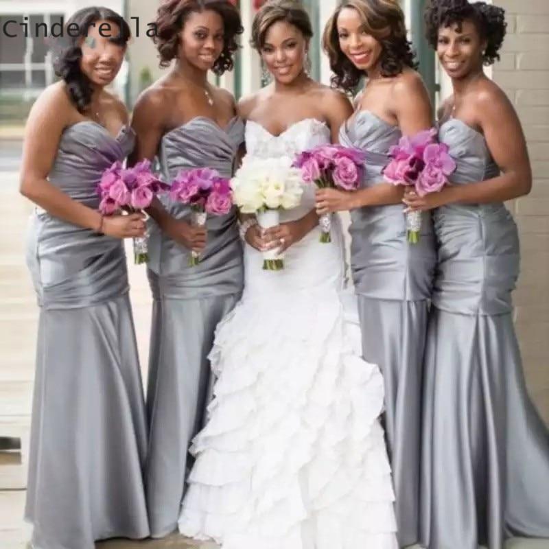 Cinderella Africa Silver Sweetheart Sleeveless Mermaid Satin   Bridesmaid     Dresses   Cheap Satin Mermaid   Bridesmaid     Dresses