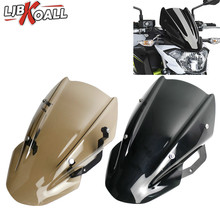 LJBKOALL High Quality ABS Windscreen Windshield Shield Screen with Bracket For Kawasaki Z650 2017 2018 2019 Smoke Brown Color