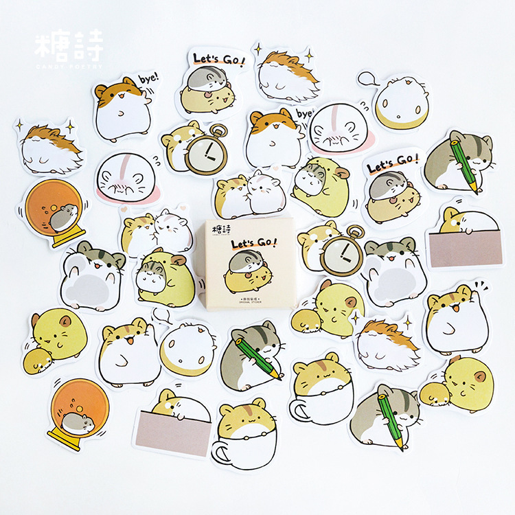 45PCS/box Cute Small Guinea Pig Diary Paper Lable Sealing Stickers Crafts And Scrapbooking Decorative Lifelog DIY Stationery