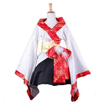 Fashion Kimono Style Long Sleeve Knee-length White Satin Wa Lolita Outfit