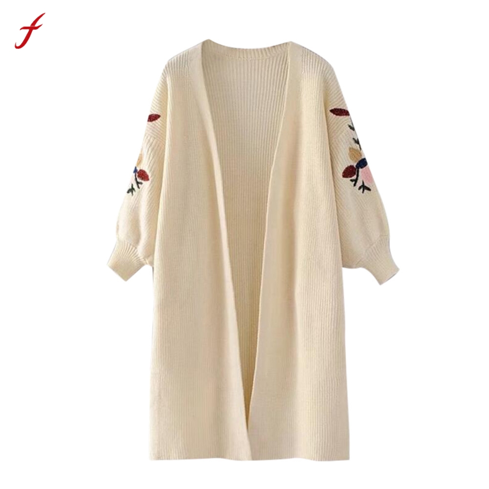 Beige Oversized Trui.Embroidery Sweater Women Long Sleeve Oversized Loose Knitted Sweater