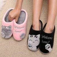 النساء الشتاء النعال المنزل الكرتون القط الشتاء الدافئ النعال المنزل الأحذية عدم الانزلاق لينة نوم يحب زوجين الطابق داخلي الأحذية