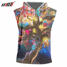 UJWI 2019 Factory Direct Supply Original Sample Design 3D Colorful tree Print Hooded Tank Top Oversized Vest Wholesale
