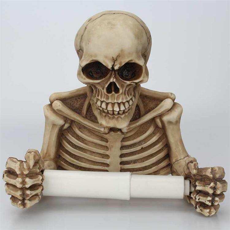 Creative Skull Toilet Paper Holder Wall Mount Tissue Box Paper Roll Holder 3D Sa