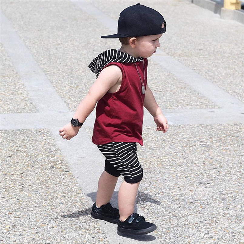 The new fashion cute design Toddler Kids Baby Boy Hooded Vest Tops+Shorts Pants 2pcs Outfits Clothes Set #4A08 (15)