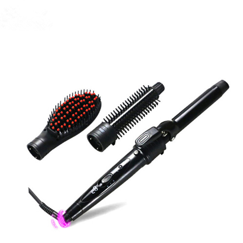 3 in 1 Ceramic Curling Iron Interchangeable Hair Curler Wand 25mm Curling Hair Straightener Brush Hair Tools 3 in 1 multifunction hair straightener hair curler corn plate curler ceramic coating foldable hair curling iron hair styler p00